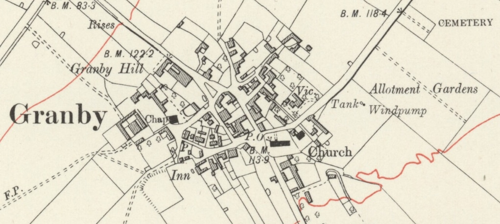 photographic extract of 1921 Ordnance Survey map showing Granby