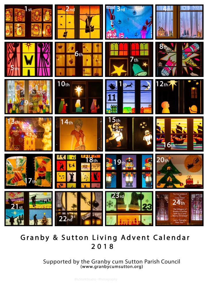 image of composite photographs from the 2018 living advent calendar windows in Granby and Sutton