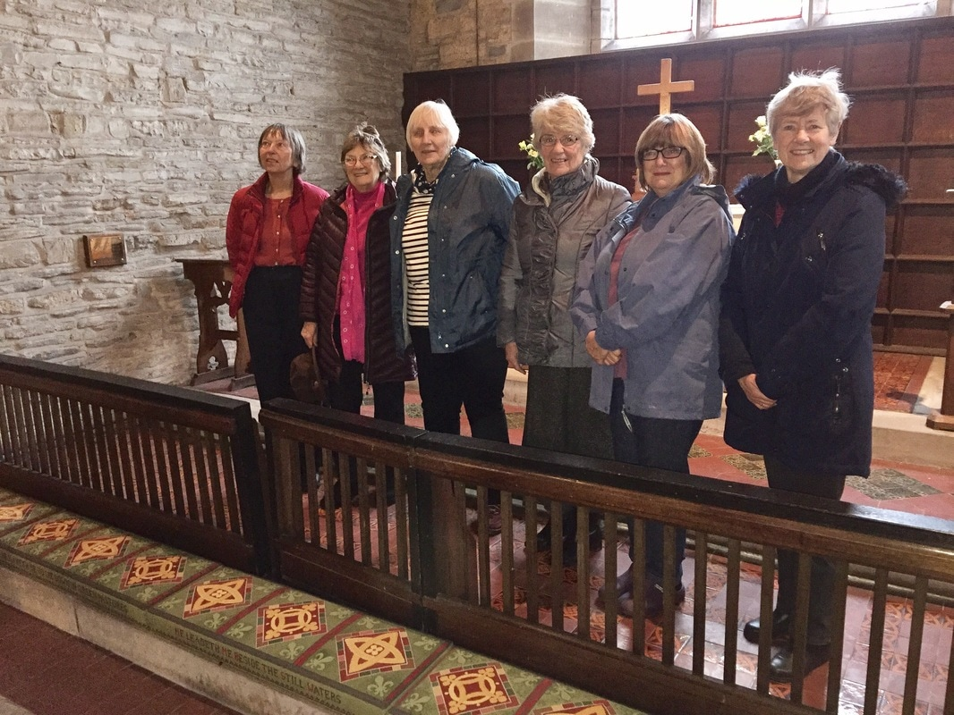 photograph of Women's Institute members who made the Granby church kneelers