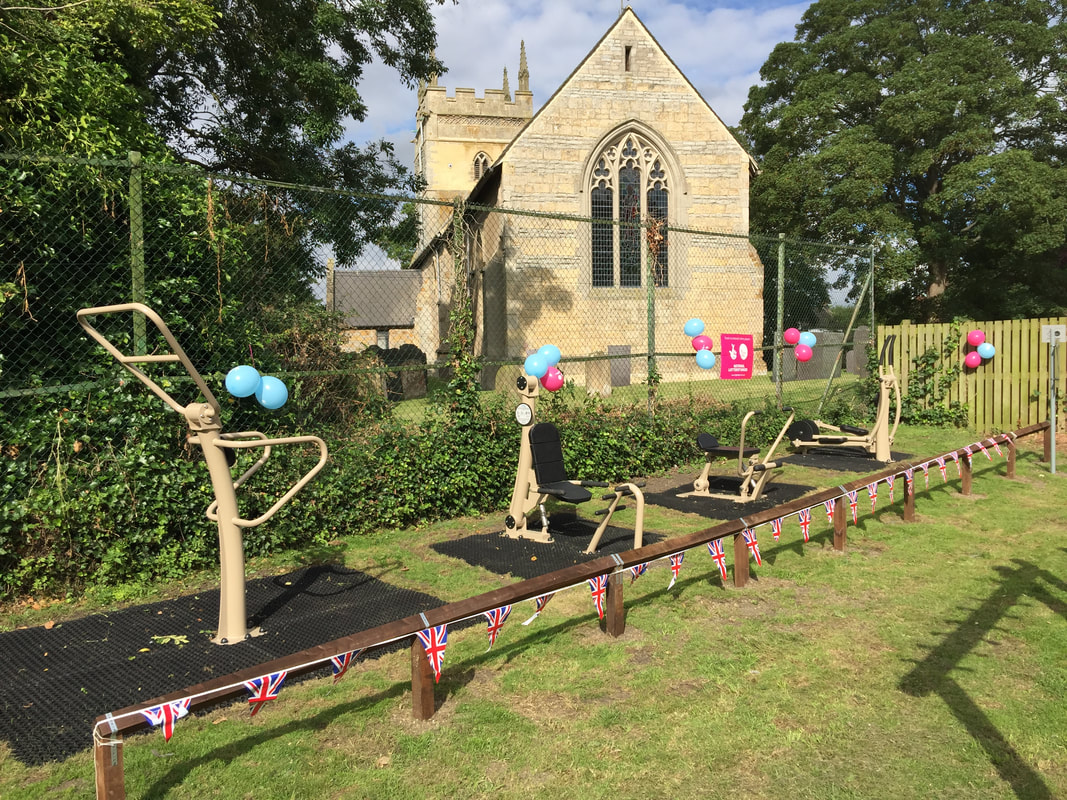 Photograph showing the adult outdoor fitness equipment behind Granby village hall.