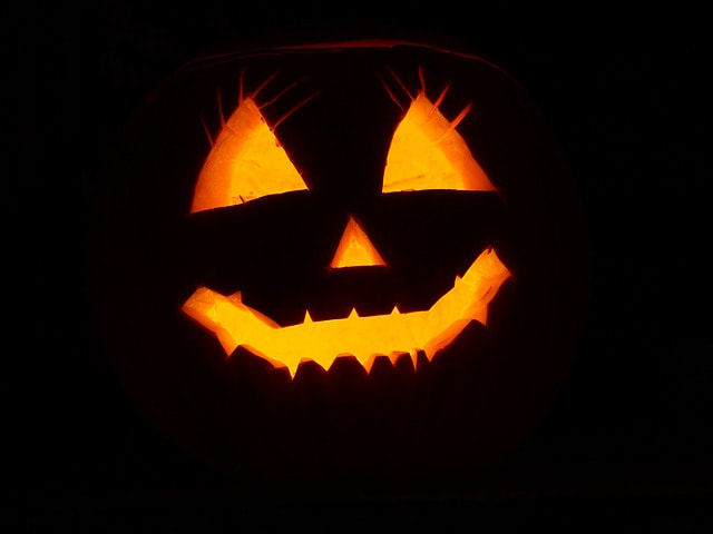 photograph of halloween pumpkin face